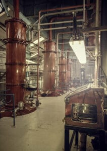Column stills at Loch Lomond, used for making their grain whiskies