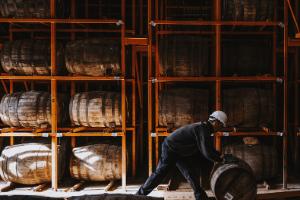whisky barrels in a barrelhouse